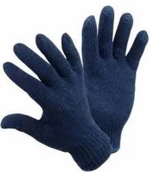 Solance Full Fingered Unisex Blue Cotton Knitted Safety Hand Gloves 7 Gauge, Size: 70 Grams