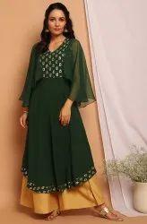 Janasya Women'S Green Poly Crepe Kurta(JNE3738)