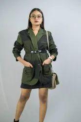 Banawati Denim Stylish Blazer, Women Blazer