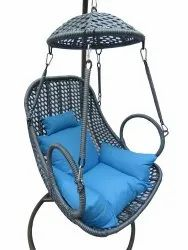 Hanging Swing, Single Seater, GC-140, Silver cum Black , Blue Cushion