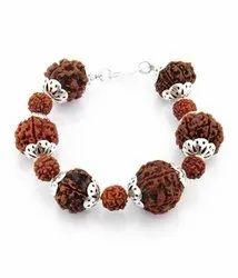 5 Mukhi Rudraksha Bracelete with Silver Capping