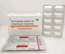 Atoxcare 20 Gold ( Atorvastatin20mg+ Clopidogrel75mg+ Aspirin75mg) Capsules