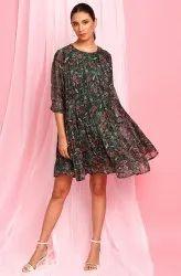 Janasya Women's Green Poly Georgette Western Dress(J0339)