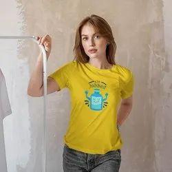 iKraft Women's Slim Fit Yellow T-Shirts