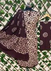 Brown Pure Cotton Batik Print Dress Material
