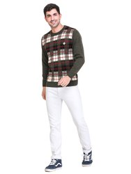 Full Sleeves INDLON Mens Round Neck Check Jacquard Sweater