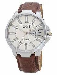 LOF WhiteRound Dial Leather Strap Men's Multi Function Analog Watch - LW2001