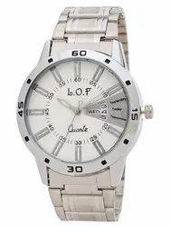 LOF White Round Dial Metal Strap Men's Multi Function Analog Watch - LW3001
