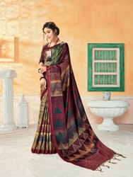 Printed Party Wear Woman Manipuri Saree, With Blouse Piece, 5.5 M (Separate Blouse Piece)