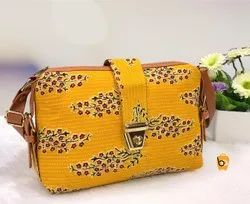 Adjustable Cotton Ikkat Sling Bag With Loop Lock, For Casual Wear