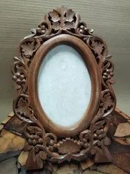 Brown Engraved Wooden Photo Frame, For Decoration