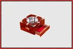 Natural wood,steel and brass Wooden Royal Ashtray, For Event