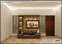 Brown Wall Mounted Wooden LED TV Cabinet, For Home, Living Room