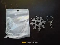 18 in 1 Steel Snowflake Multi Tool Keychain