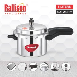 Rallison Silver Aluminium Outer Lid Pressure Cooker Grand 5 Ltrs, For Home