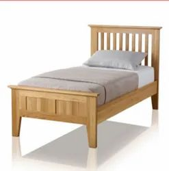 Engineered Wood Wooden Single Bed, Without Storage