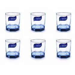 Transparent Glass Juice Whiskey Glass Set-set Of 6- Blue Shade