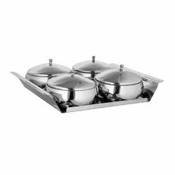 Stainless Steel Snack Serving Set with Tray (5 Pcs Set) 4 Bowl with Lid & One Tray for Gift