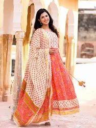 Cotton Party Wear Designer Orange Color Anarkali Kurtis with Pant and Dupatta, Wash Care: Handwash