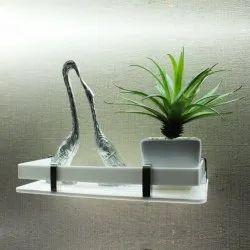 Plain White Wall Mounted Acrylic Shelf, For Home, 1