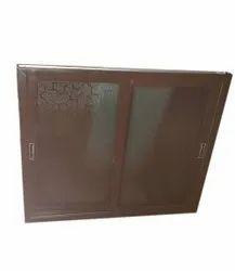 Aluminium Color Coated Brown Aluminum Dominal Window, For Home