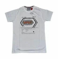 Round Half Sleeve Mens White T-Shirts, Size: Large