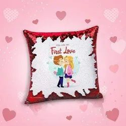 iKraft Sequin Magic Cushion Printed Design You Are My First Love