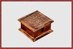 Natural Brown Mango Wood Wooden Lotus Hamsa Hand Box, For Event, Size: 15X15X8Cm