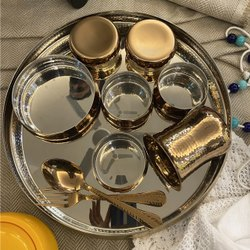 Rose Gold Maharaja Thali Set with Rice Bowl