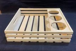 Smooth Natural Pinewood Side Handle Tray with 3 Jar Cavity, For Party Supplies, Size: 14x15x3.5 Inches