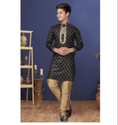 Black Color Jacquard Silk Fabric Exclusive Readymade Boy