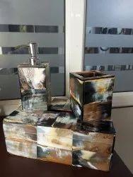 Stylish Horn Bathroom Set 3 Pieces Bathroom Accessories Tissue Box Soap Dispenser Toothbrush Holder