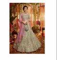 Green Color Pure Organza Fabric Latest Designer Bridal Wedding Wear Lehenga Choli