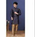 Blue Color Jacquard Silk Fabric Exclusive Readymade Boy