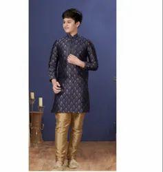 Blue Color Jacquard Silk Fabric Exclusive Readymade Boy's Kurta Paijama Kids Wear
