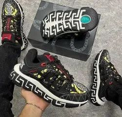 Vercace Men Versace Trigreca Black Gold Sneakers