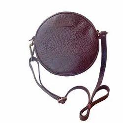 Croc Printed Genuine Leather Round Sling Bag