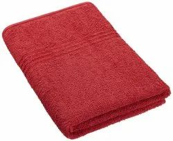 Plain Trident Red Cotton Hand Towel, Rectangular, Size: 70 X 140cm