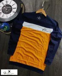 Cotton Mutlicolor Full T-Shirts, Size: L-XL