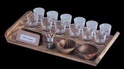 Pine Wood Snacks Set with Shot Glasses