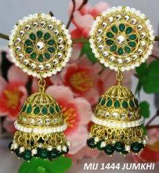 mix Brass Meenakari Jhumki Earrings