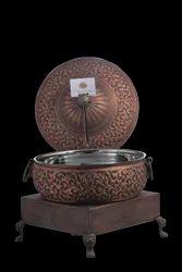 Smokey Copper Flower Embossed Handi with Heritage Chowki & Clamp Lid Holder