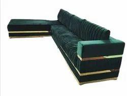 Green L Shape Wooden Modular Sofa, Living Room