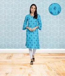 Light Blue Fabclub Cotton Floral Printed Straight Women Kurti