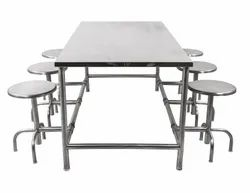 SS Dining Table With Foldable Stools