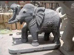 Black Stone Elephant Statue, For Exterior Decor