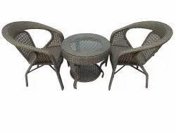 Garden Table- 2 Chairs Set, Rattan, GC-09, Golden Cum White