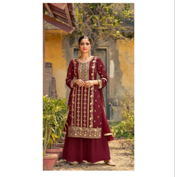Maroon Color Faux Georgette Fabric Latest Heavy Designer Party Wear Salwar Suit