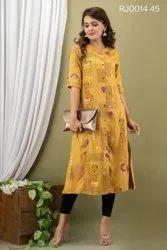 Cotton Casual Wear Embroidered Kurtis, Wash Care: Machine wash