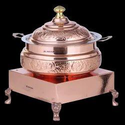 Copper Embosed Handi Set with Heritage Chowki